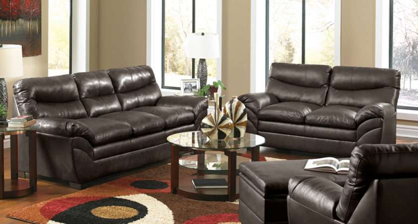Casual Contemporary Brown Bonded Leather Sofa Set Living Room