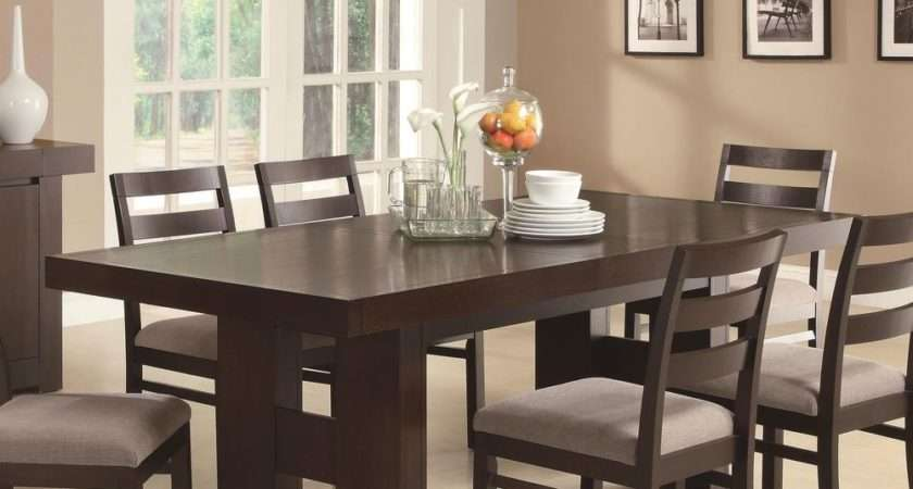 Casual Contemporary Dark Wood Dining Table Chairs