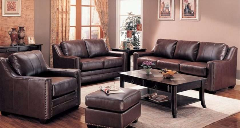 Categories Sofas Gibson Leather Living Room Set Brown