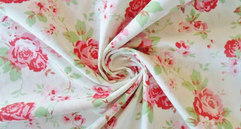 Cath Kidston Fabric Antique White Floral Roses Metre