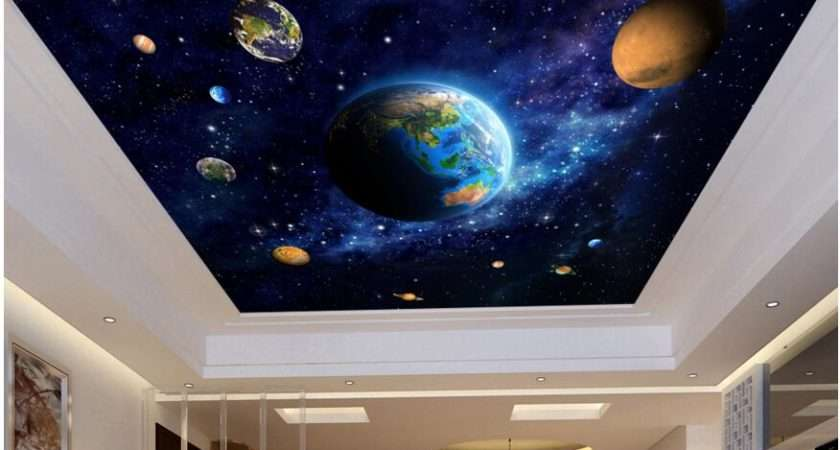 Ceiling Murals Wall Paper Blue Planet Space