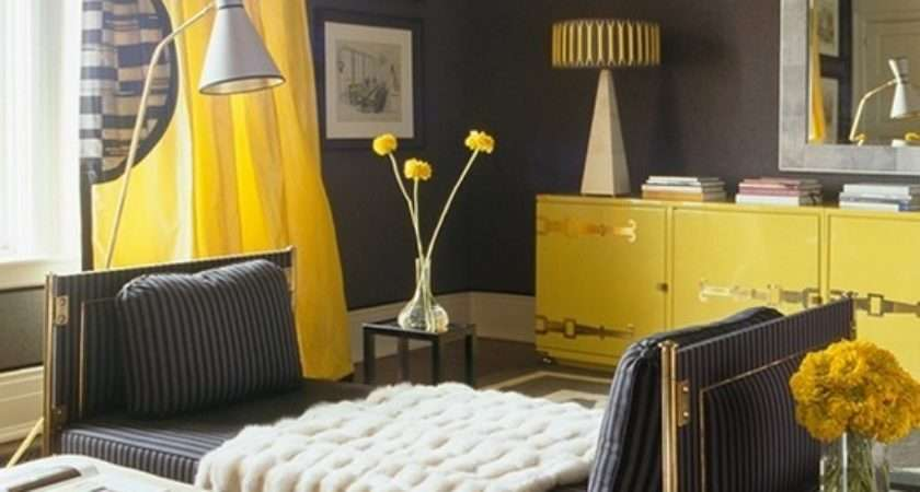 Charcoal Gray Yellow Living Room Design Ideas