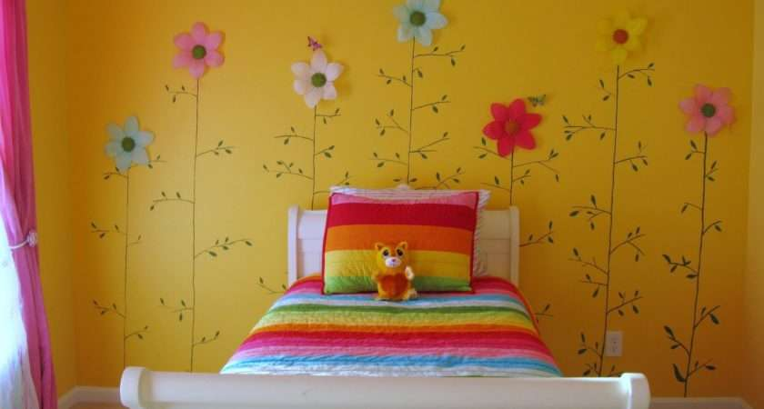 Cheerful Yellow Girl Bedroom Color Paint Beautiful