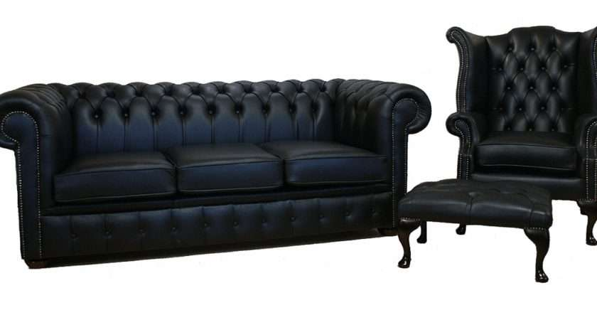 Chesterfield Leather Three Piece Sofa Suite Black Seater