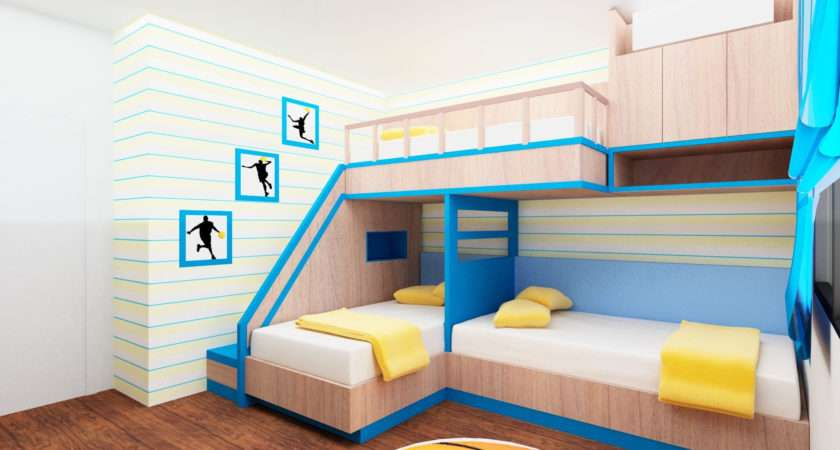 Childrens Cabin Beds Small Rooms Cream Blue Wooden