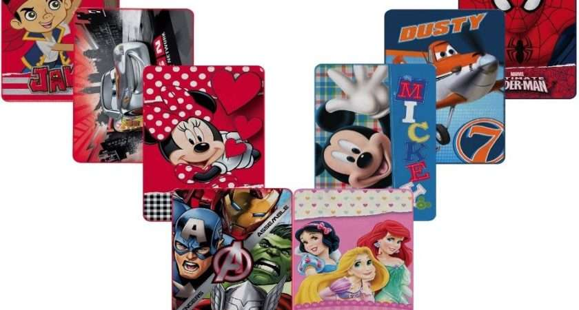 Childrens Disney Fleece Blanket Marvel Mickey Minnie Spiderman Cars