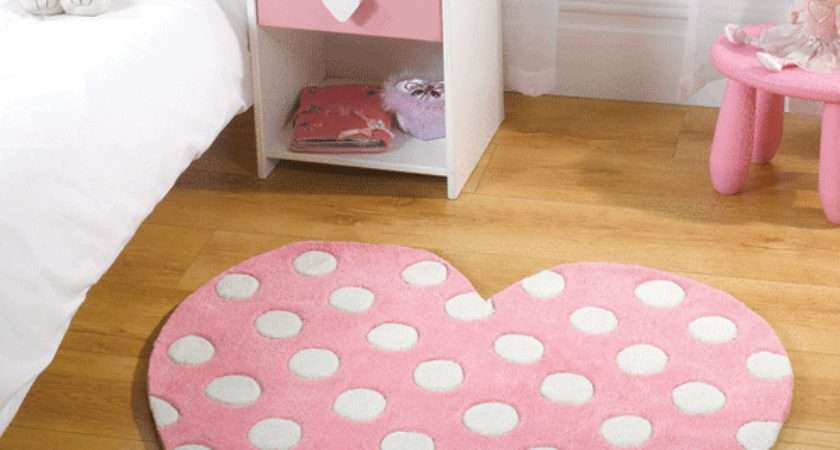 Childrens Play Girls Pink Polka Dot Heart Shaped Rugs