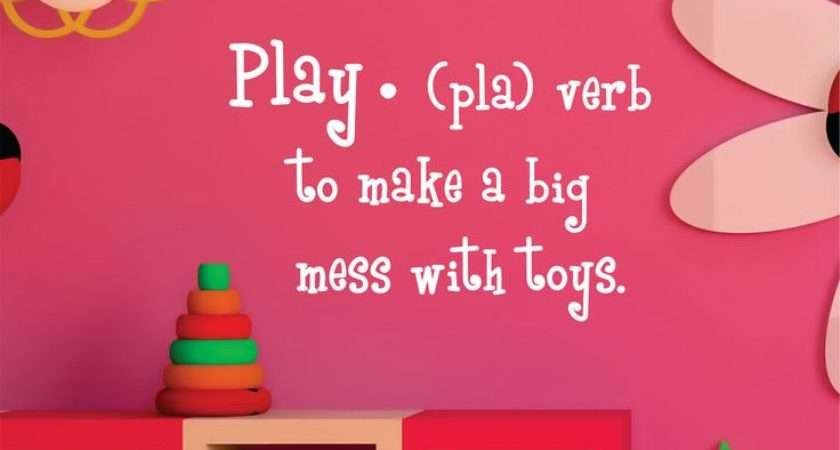 Childrens Wall Decal Play Definition Playroom Vinyl Art Chil
