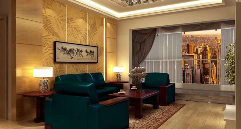 Chinese Living Room Dark Green Couch House