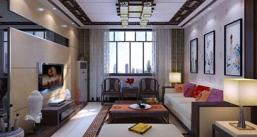 Chinese Style Living Room Design Classical Ceiling