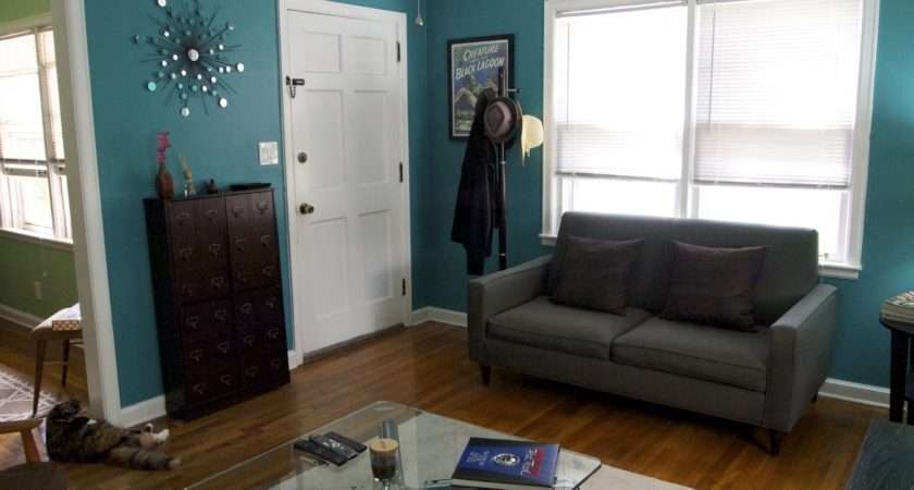 Chocolate Teal Living Room