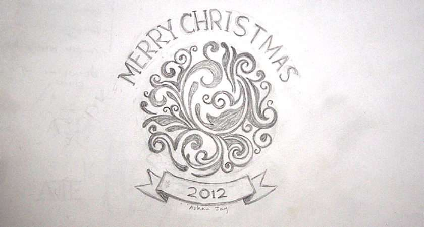 Christmas Card Drawing Ideas Easy Happy Holidays