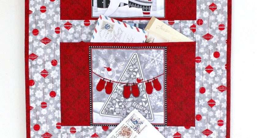 Christmas Card Holder Quilted Wall Hanging Gray Red Letter