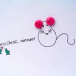 Christmas Card Merry Christ Mouse Button Nikelcards