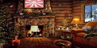 Christmas Cottage Yule Log Fireplace Snow Scene