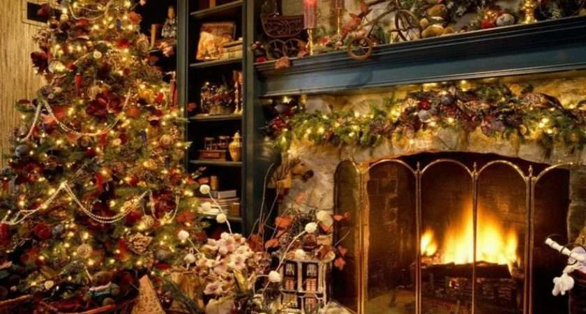 Christmas Decorating Ideas Old Fashioned Fireplace