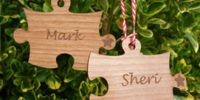 Christmas Decorations Couple Jigsaw Tree Bauble Wooden Ebay