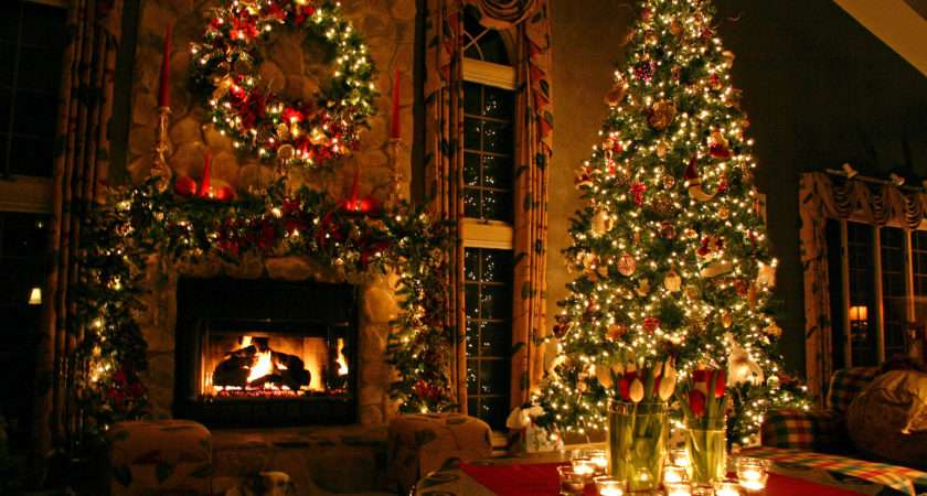 Christmas Fireplace Decorated Tree