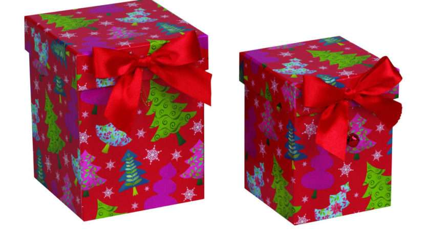 Christmas Gift Boxes Colourful Trees Nest Tall