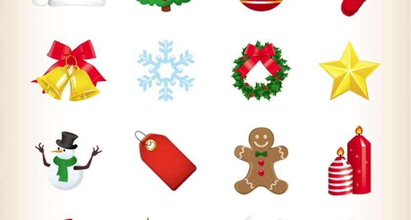 Christmas Icons Set Vector Graphics