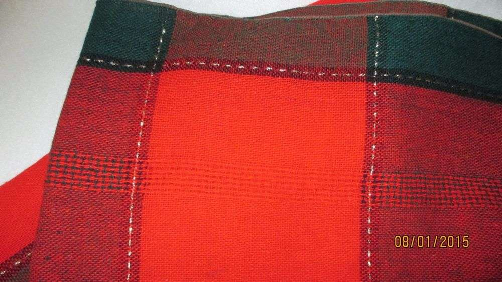 Christmas Tablecloth Plaid Red Green Gold Threads Running Through