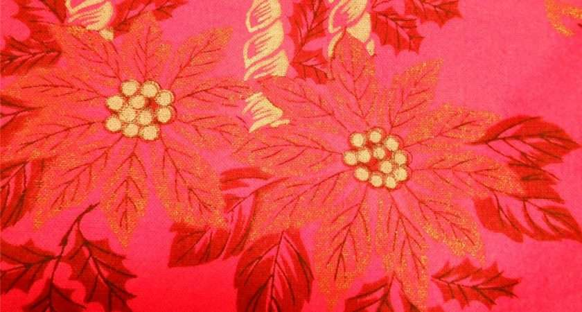 Christmas Tablecloth Poinsettia Holly Print Silver Candles Gold Trim
