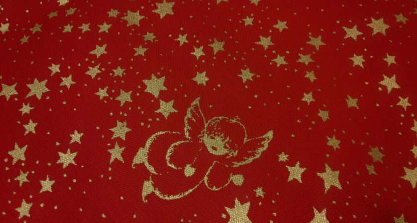 Christmas Tablecloth Red Gold Angels Stars Dreamzzzzz Etsy