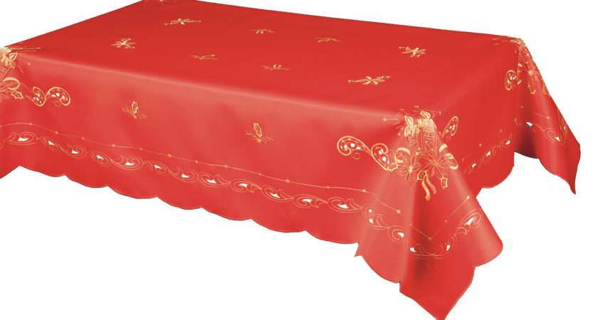 Christmas Tablecloth Red Gold Candle Holly Embroidery Easy