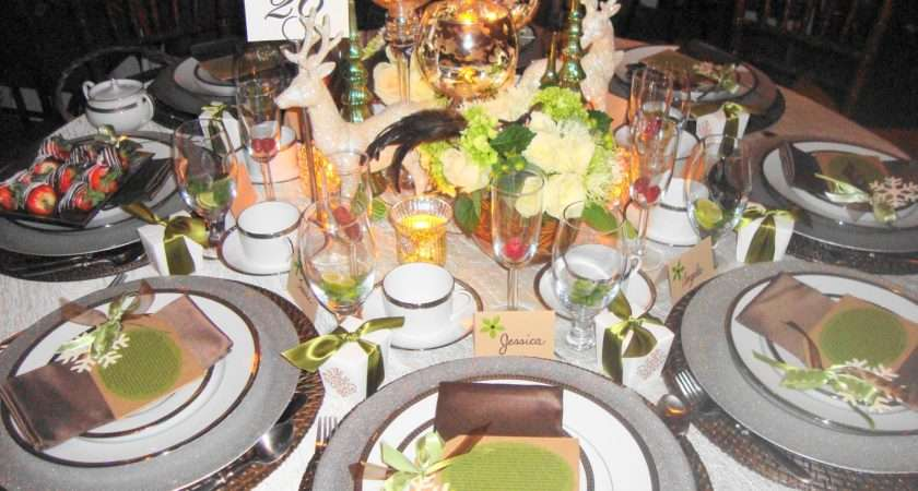 Christmas Tea Table Olive Green Brown Silver Color Scheme