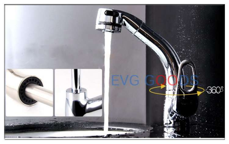 Chrome Pull Out Extendable Single Lever Kitchen Mixer Tap Swivel Spray