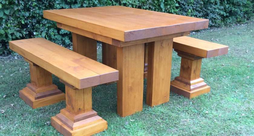 Chunky Small Wooden Garden Table Benches