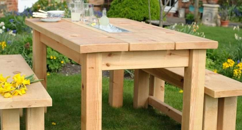 Chunky Wood Planter Drinks Dining Table Benches Set