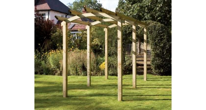 Classic Garden Wooden Arched Pergola Walkway Leisure Traders