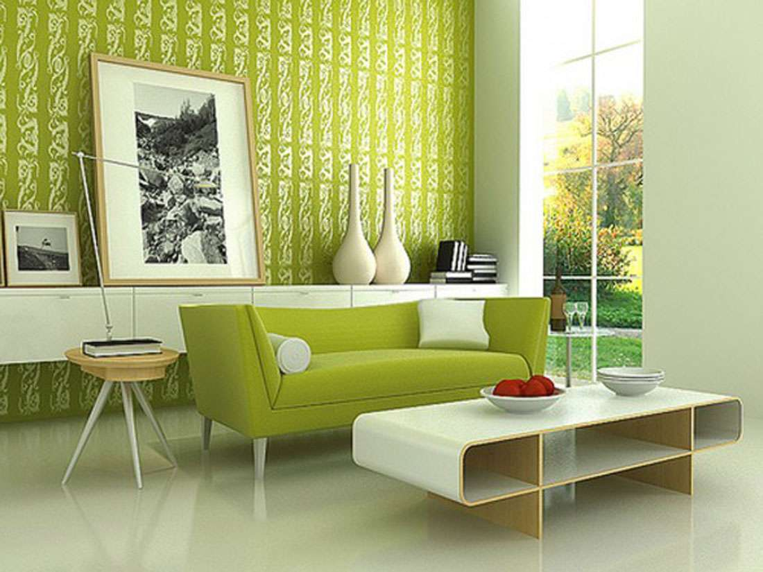 Classic Green Wall Living Room Paint Interior Design Home