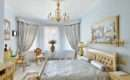 Classic Style Luxury Bedroom Interior Blue Silver Colors