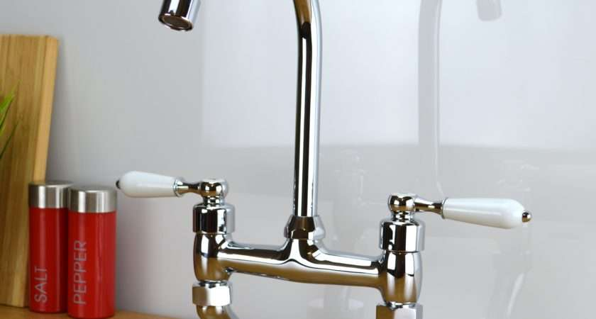 Classic Traditional White Lever Bridge Taps Kitchen Sink