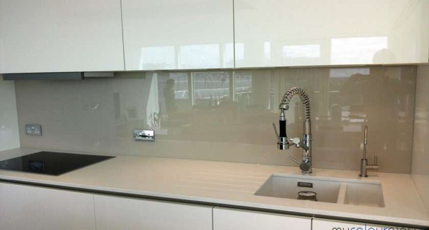 Coffee Coloured Glass Splashback Bespoke