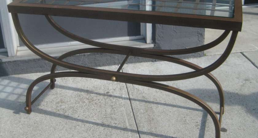 Collectibles Sold Wrought Iron Glass Hall Table