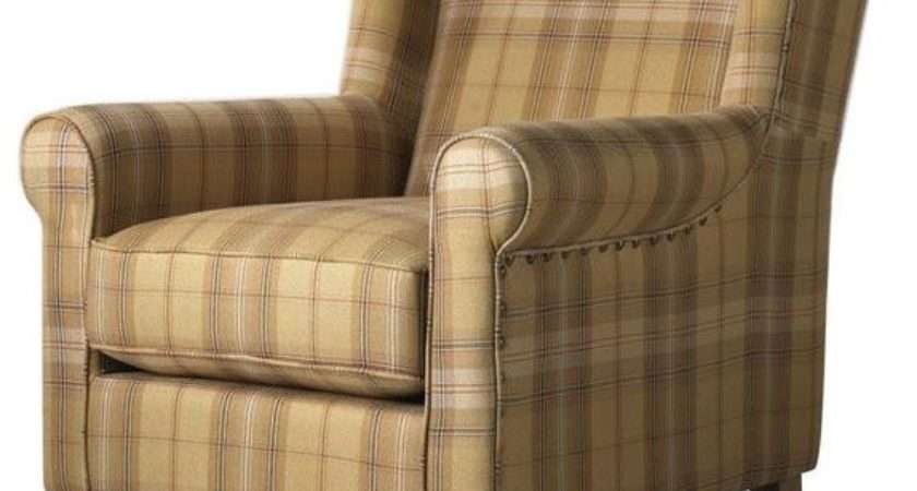 Collins Wingback Chair Brown Tan Plaid Traditional