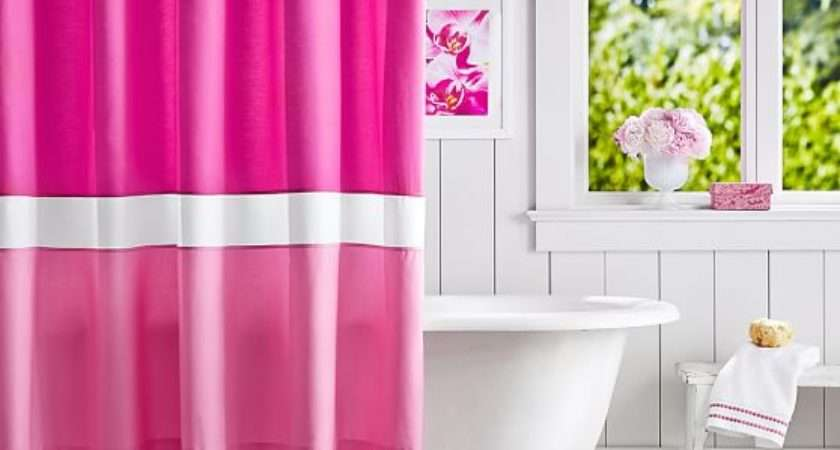 Color Block Shower Curtain Pink Magenta Bright Pbteen