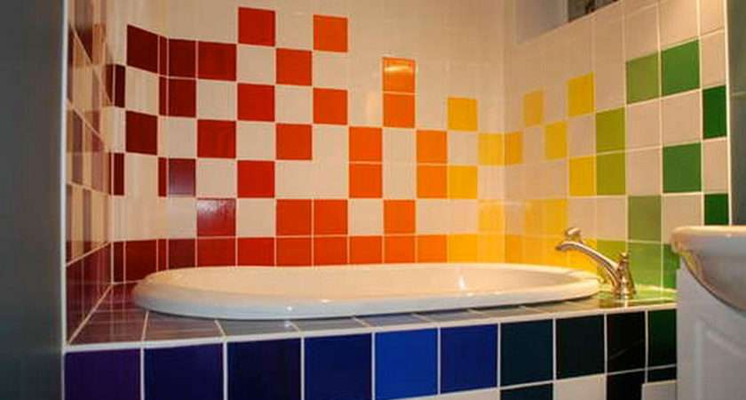 Colorful Bathroom Tiles Furnishing Iroonie