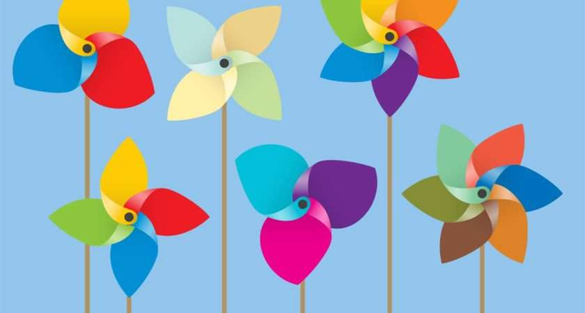 Colorful Paper Windmill Vectors Vector Art