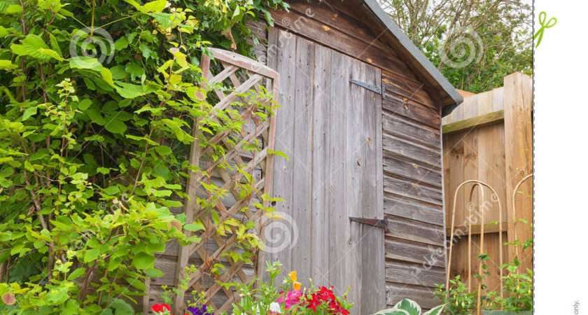 Colorful Potted Plants Hiding Garden Shed