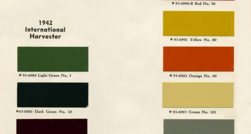 Colour Charts Old International Truck Parts