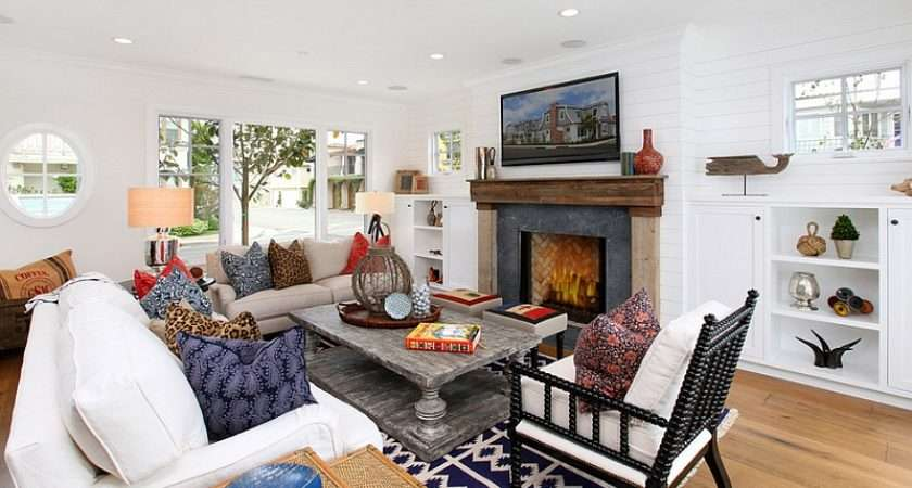 Combining Bohemian Accents Beach Style Living Room