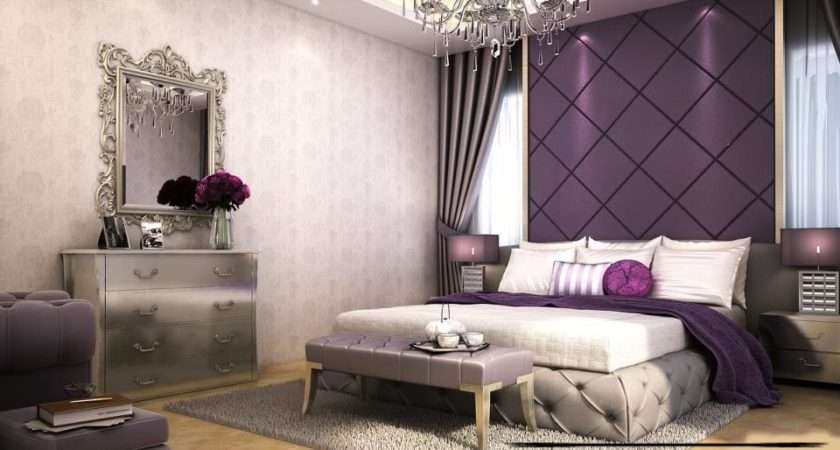 Contemporary Bedroom Design Ideas Purple Wall Decorating