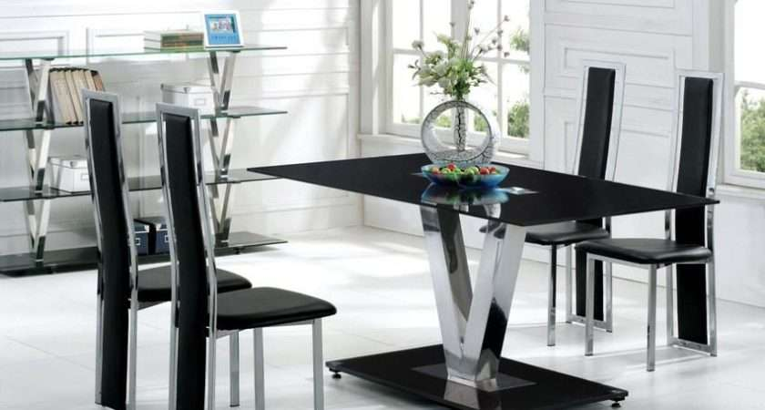 Contemporary Black Glass Dining Set Homehighlight