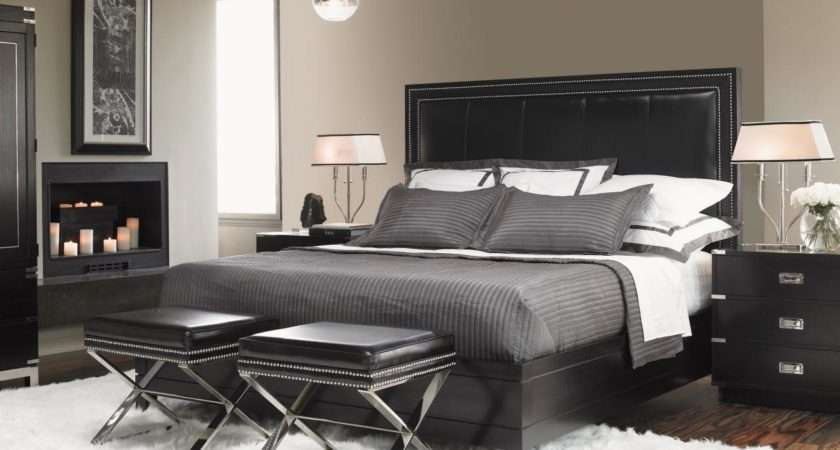 Contemporary Black Gray White Master Bedroom Grayscale Palette