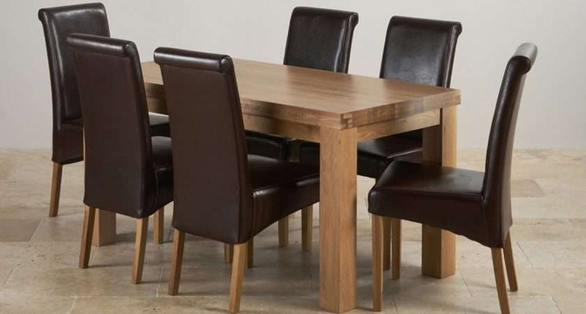 Contemporary Dining Set Oak Table Brown Leather Chairs