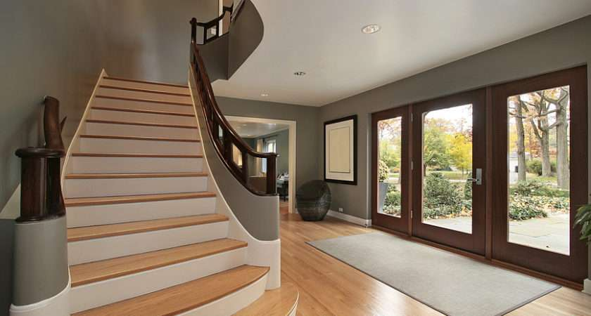 Contemporary Foyer Light Wood Floor Straight Stairs Leading
